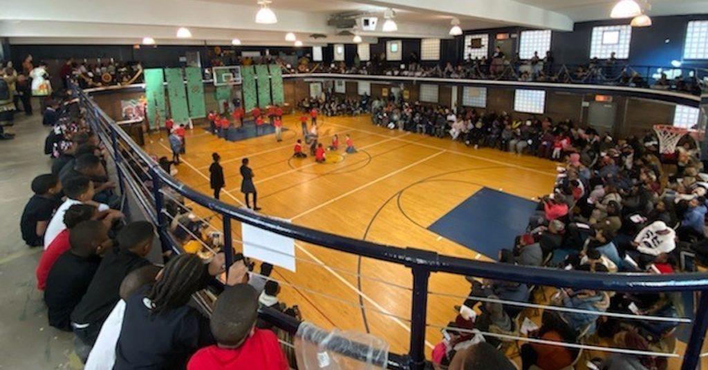 Aerial view of the Alain Locke gymnasium for the 2019 Pre-Kwanzaa Program