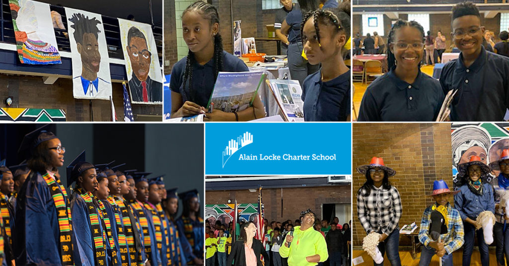 A collage of Alain Locke Charter School students and staff