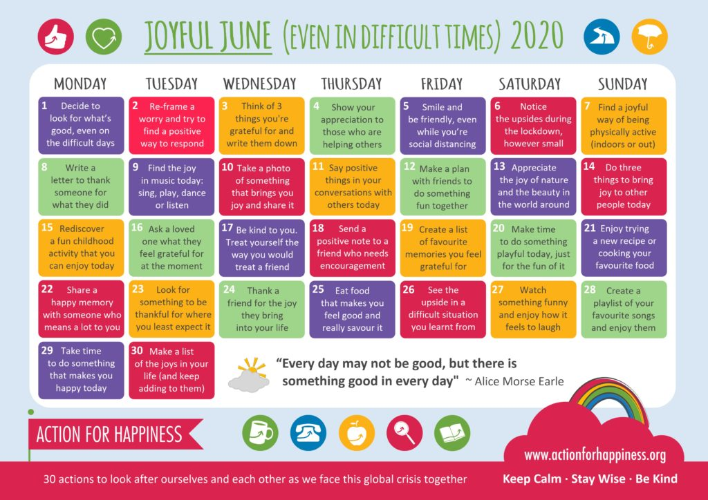 The Joyful June calendar offers 30 exercises for practicing positive thinking